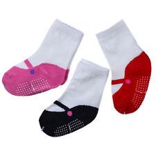 Baby Girl Ballet Shoe Print Anti Slip Skid Socks Lovely 3 Pair Different Styles
