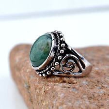 Size 6.5 Silver plated Green Gemstone finger Ring Statement punk jewelry Gift