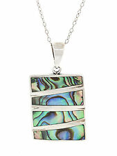 Sterling Silver Striped Rectangular Abalone Pendant w/ Chain, 9""