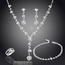 Wedding Jewelry Set Christmas Jewellery Crystals Necklace Earring Bracelet Ring