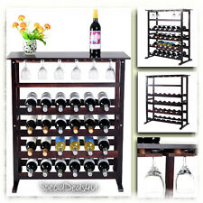 Wine Rack Bottle Glass Holder Wooden Storage Bar Kitchen 24 Bottles Cabinet Shel