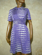CHIC VINTAGE ROBE 1970 VTG DRESS 70s MOD GRAPHIC OPART KLEID 70er ABITO (36/38)