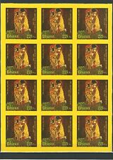 Bután 2012 arte painting pinturas g klimt The Kiss seda stamps on silk rar mnh