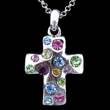 Colourful Cross USE Austria Crystal Necklace BC