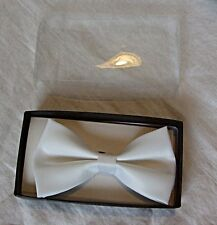 SMART MENS NEW SATIN BOW TIE IN WHITE WEDDING EVENING FORMAL PARTY PROMS