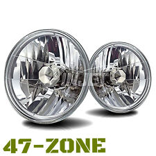 "Univeral 7"" Round Chrome Housing Clear Lens Replacement Driving Headlights Lamps"