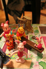Lot of 5 Winnie the pooh and piglet toys - plastic and tree trinket box