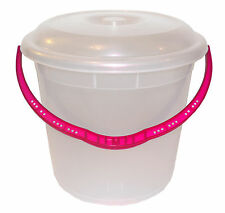 Large 20L Clear Plastic Bucket With Lid Carry Handle Storage Container Tub #NEW