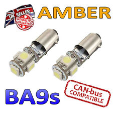 2 x BA9s Amber Canbus LED Number Plate Interior Side Light 5 SMD Bulbs 233 T4W