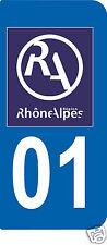 2 STICKERS RA 01 style PLAQUE D'IMMATRICULATION Département Région Rhône Alpes