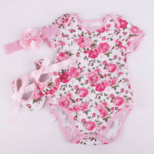3pcs Newborn Kids Baby Girl Floral Romper Bodysuit headband Shoes Sets Clothes