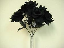 "2 Bushes BLACK Open Roses 7 Artificial Silk Flowers 15"" Bouquet 039BK"