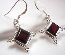 Faceted Garnet Square Earrings Dangle 925 Sterling Silver Rope Style Accents