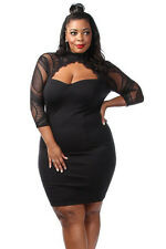 Sexy Black Sheer Lace Choker Cutout Keyhole Curvy Plus Size Dress 16 18 20 22 24