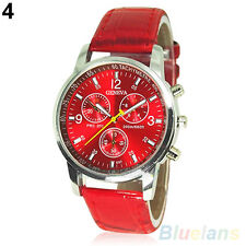 Mens Womens Fashion Faux Leather Band Quartz Analog Dress Bracelet Wrist Watch