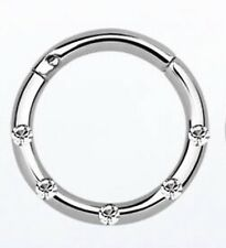 1PC Surgical Steel Hinged Clicker Septum Segment Hoop Ring With Crystal Era Nose