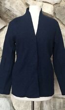 Eileen Fisher 100% Boiled Wool Navy Blue Snap Front Cardigan Sweater Jacket Sz S