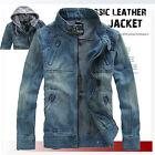 Men's Trendy Retro Denim Jacket VINTAGE Hooded Jean coat outwear slim Hot