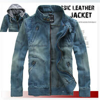 Men's Trendy Retro Denim Jacket VINTAGE Hooded Jean coat outwear slim Hot