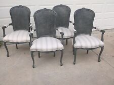 Louis XV French painted cane back upholstered arm chair (4 available)