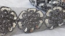 7cm- 1 meter Gorgeous black flower style sequins on net lace trim for crafts DIY