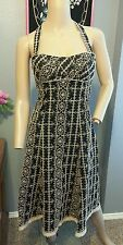 Nanette Lepore Black Tan Floral Vines Embroidered Cotton Blend Dress S 4