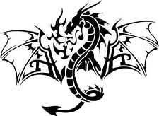 "Tribal Dragon Car Window Decor Vinyl Decal Sticker- 6"" Wide White"