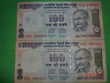 - INDIA PAPER MONEY- 2  'MG' NOTES - RS. 100/-YEAR 'NIL' -TWO SIGNS -G-46,52#EAN