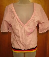 PUMA women's med open V-neck blouse Berlin soccer pink T shirt loose-fit 1948