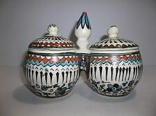Vintage Iznik Turkish Ottoman Pottery SPICE JAR Honey Pot