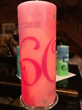 60th BIRTHDAY HAND DECORATED ON CORAL Coated PILLAR CANDLE 90hrs