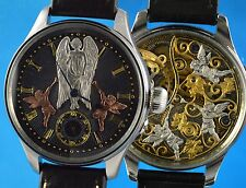 BENSON Angel & Cupids Vintage Custom Watch, Carved Movt, Handmade Sandwich Dial