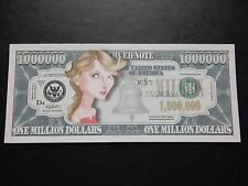 Taylor Swift $1 MILLION DOLLAR NOTE Novelty Bill $1,000,000 Singer Songwriter