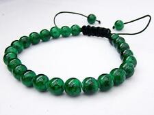 Men's Shamballa bracelet all 8mm Green Glass beads