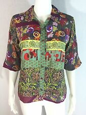 Johnny Was Sz XS Multicolor Paisley Floral Pieced Patchwork Embroidered Top