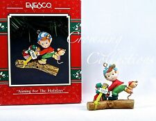 Enesco Aiming for the Holidays Treasury of Christmas Ornament Mice Elf Slingshot