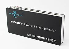 Goronya 5 Port HDMI/MHL Switch & Audio Extractor SPDIF/3.5mm Jack Stereo Outp...