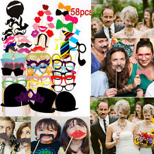 58PCS Funny Photo Booth Props Mustache Mask Sticks For Wedding/Party/Christmas