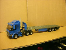 LEGO CITY CUSTOM BLUE 6 WHEELER TRUCK WITH TRI-AXL FLATBED TRAILER L@@K