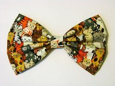 NEW FABRIC HAIR BOW W/ Alligator Clip * Cats / Kitties *Handmade*FREE SHIPPING
