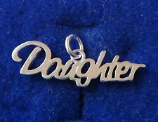 Sterling Silver 7x26mm Cursive says DAUGHTER charm