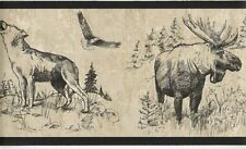 Western Roundup Wallpaper Border / Moose Buffalo Wolf