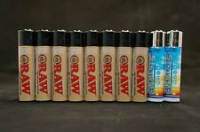 10 New Refillable Clipper Full Size Lighters 8 pcs Raw & 2 pcs Element Design