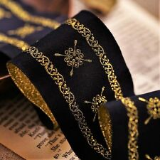 High quality Gold / black handmade embroidery lace/ribbon - selling by the yard