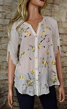 TINY FROM ANTHROPOLOGIE Embroidered  Button Shirt  Medium Ivory