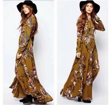 Free people golden floral first kiss maxi dress sz XS, sold out $148