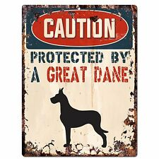 PP2083 CAUTION PROTECTED BY A GREAT DANE Plate Chic Sign Home Store Door Decor