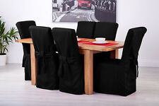 Set of 6 Black Linen Fabric Dining Chair Covers for Scroll Top High Back Leather
