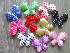 50pcs Padded Felt Polks Butterfly Appliques Craft 10 Color 28mm*34mm
