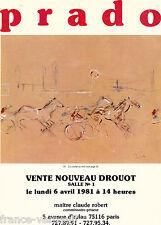 Catalogue de vente peinture dessin cheval hippisme PRADO 1981